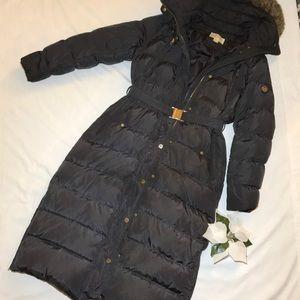 Michael Kors Puffer Coat Full Length Sz M Steel